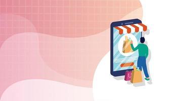 compras de comércio eletrônico online com homem comprando e smartphone
