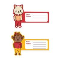 conjunto de etiquetas de animais fofos