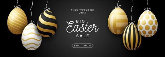 banner horizontal de venda de ovo de páscoa de luxo vetor