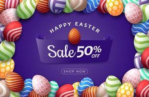 banner de venda horizontal de ovo de páscoa vetor