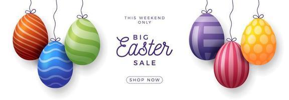 banner horizontal de venda de ovo de páscoa vetor