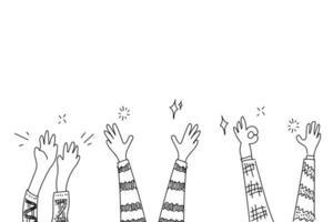 conjunto de mãos de doodle batendo palmas
