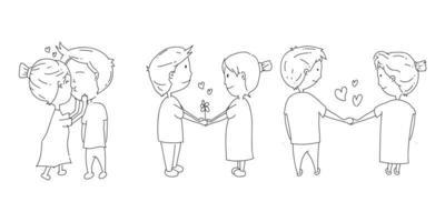 conjunto de ilustração de casais doodle