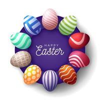 quadro de banner de ovo de Páscoa feliz. vetor
