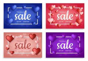conjunto de banner de venda de corações vetor