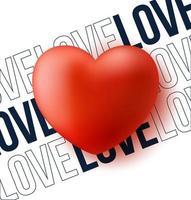 coração vermelho com ilustração vetorial de amor de texto