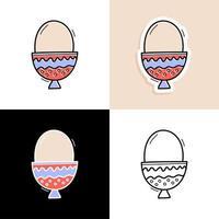 ovo conjunto desenhado à mão