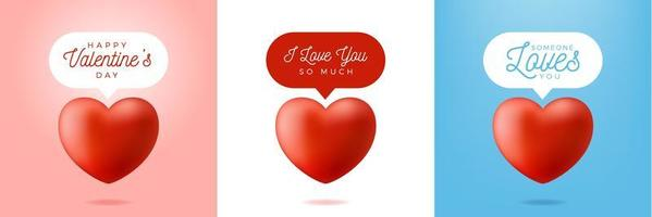 Conjunto de mensagens de coração vermelho realista dos namorados vetor