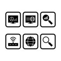 conjunto de ícones de otimização de mecanismo de pesquisa
