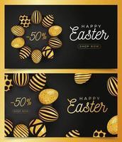 conjunto de banner horizontal de ovo de páscoa vetor