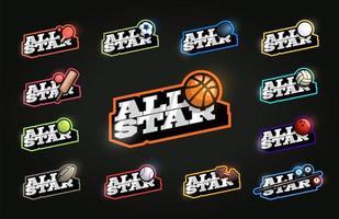 conjunto de esporte de estrelas