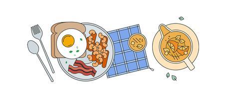 Vinho do feijão de café da manhã vetor