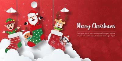 banner de cartão postal de natal do papai noel e amigos na meia de natal vetor