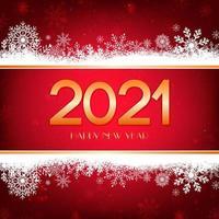 fundo vermelho feliz ano novo com borda branca de flocos de neve e tipografia de ouro. vetor