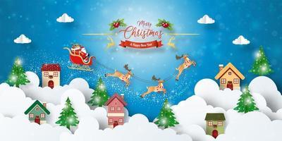 banner de cartão postal de natal do papai noel sobrevoando a cidade