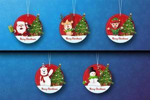 conjunto de etiquetas de natal com personagens fofinhos de natal