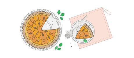 vetor de torta de pêssego