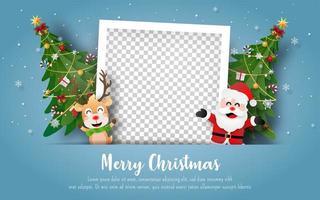postal de natal com papai noel, renas e moldura em branco