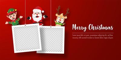 banner de cartão postal de natal do papai noel e amigos com molduras para fotos