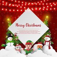 postal de boneco de neve e amigos com temática de natal