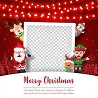 Feliz Natal e Feliz Ano Novo, postal de Natal com moldura para fotos com o Papai Noel e amigos, estilo paper art