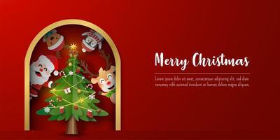banner de cartão postal de natal do papai noel e amigos com árvore de natal