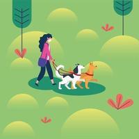 mulher com máscara médica e cães em desenho vetorial de parque