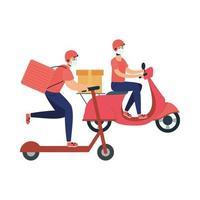 entregadores com máscaras desenho vetorial de motocicleta e scooter