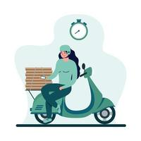 entregadora com máscara de motocicleta e desenho vetorial de caixas