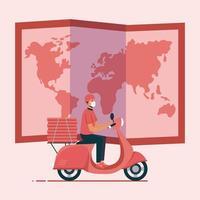 entregador com máscara de motocicleta mapa e desenho vetorial de caixas