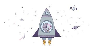 Vector do cachorrinho espacial