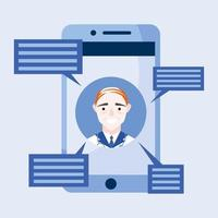 médico masculino online em smartphone com desenho vetorial de bolhas