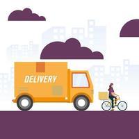 caminhão de entrega e mulher em desenho vetorial de bicicleta