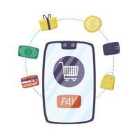 smartphone com carrinho de compras e ícones de comércio eletrônico