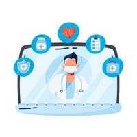 médico profissional com estetoscópio no laptop