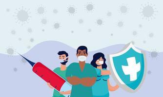 equipe de médicos com injeção e escudo covid19 vetor