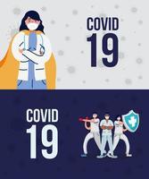 equipe de médicos profissionais lutando com covid19 vetor