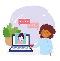 festa online, reunião de amigos, mulher com uma taça de vinho e homem no vídeo laptop celebração vetor