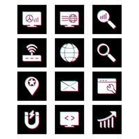 conjunto de ícones de otimização de mecanismo de pesquisa para uso pessoal e comercial ... vetor