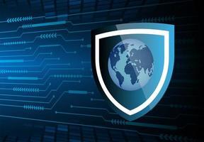 futuro e tecnologia de fundo de segurança azul com mapa mundial vetor