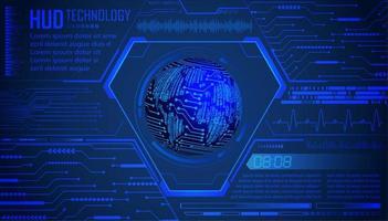 futuro e fundo de holograma de tecnologia azul com mapa mundial vetor