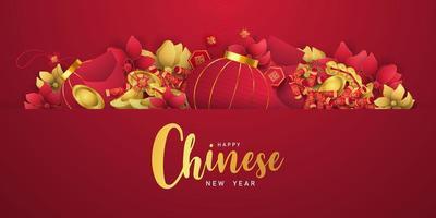 feliz ano novo chinês banner cartão ano de boi. vetor