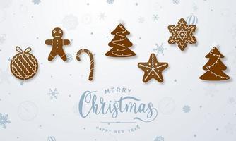 Feliz Natal e feliz ano novo fundo. modelo de plano de fundo de celebração com homens-biscoito. vetor