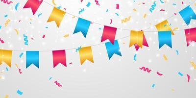 bandeira celebração confete e fitas evento colorido modelo de fundo de aniversário