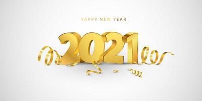 feliz ano novo 2021 fundo. modelo de design de cartão com confetes de ouro. comemorar brochura ou folheto.