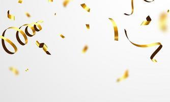 fitas de confete ouro. celebração luxo cartão rico. vetor