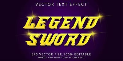 espada de legenda de efeito de texto vetor