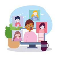 festa online, encontrar amigos, pessoas conversando por meio de um laptop em casa vetor