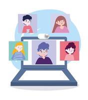 festa online, encontro de amigos, pessoas mantêm contato usando videochamada no laptop vetor