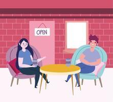 restaurante ou café de distanciamento social, mulher e homem sentados com um copo de vinho e café, covid 19 coronavirus, nova vida normal vetor